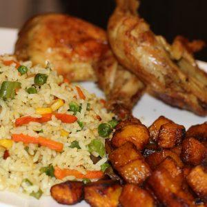 Fried Rice + Roasted/Fried Chicken + Dodo + Sauce