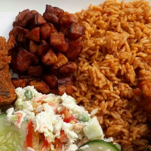 lunch, rice, delicious, plantain, coleslaw, cucumber